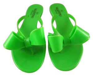Valentino Rockstud Rubber Jelly Bow Thong green Sandals