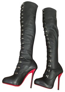 Christian Louboutin Top Croche Leather Stiletto black Boots