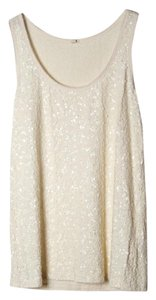 J.Crew Knit Sleeveless Stretch Sequin Top Ivory