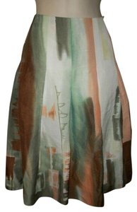 Ellen Tracy Linen Silk New Skirt Multi-color