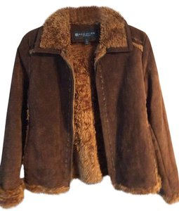 Kenneth Cole Brown Suede Leather Jacket