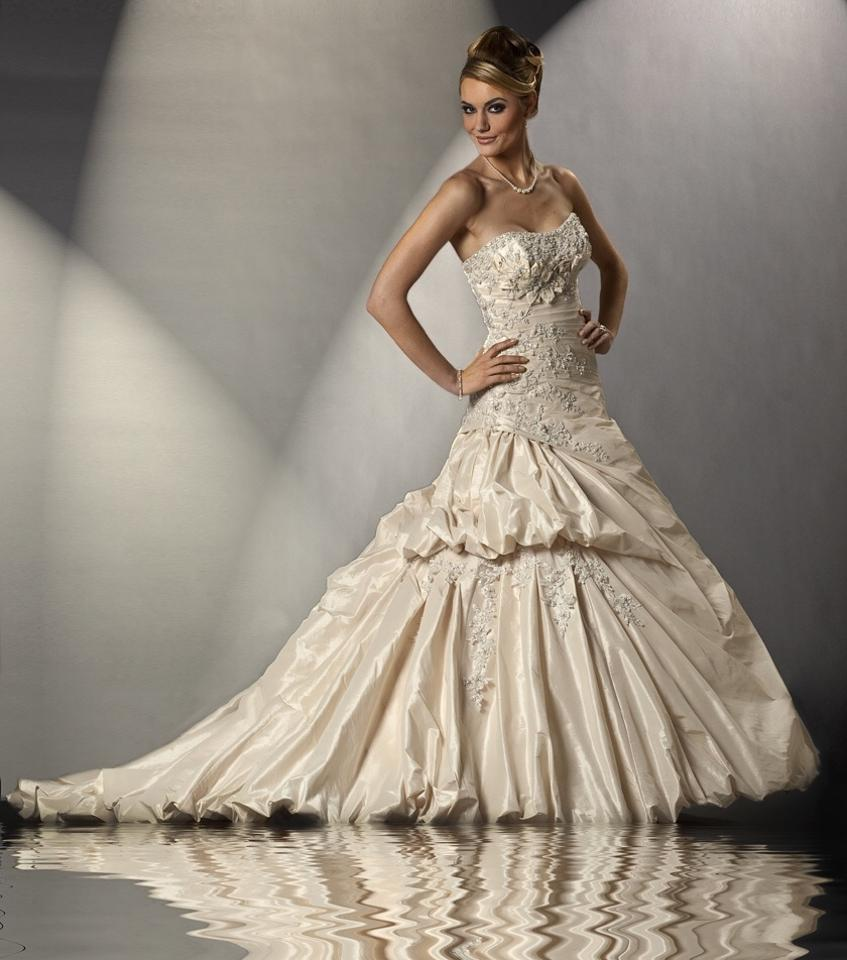 Christina wu wedding gown style 15432 light gold ivory for Ivory and silver wedding dress