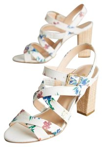 Anthropologie White Floral Sandals