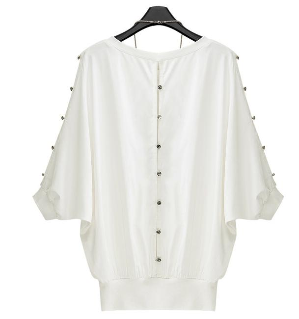 Other Button Back White Loose Elegant White Top
