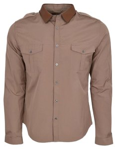 Gucci Men's Shirt Shirt Men's Shirt Military Shirt Button Down Shirt Brown