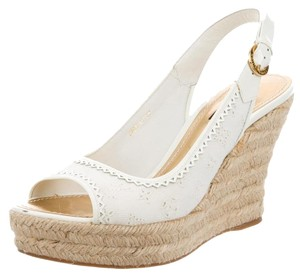 Louis Vuitton Lv Espadrille Hardware White, Gold Wedges