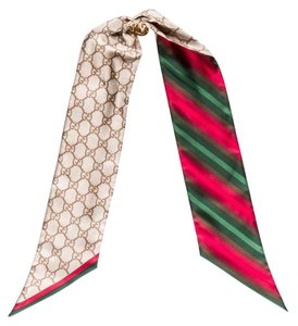 Gucci Beige, Red, Multicolor Gucci Silk GG Web Scarf