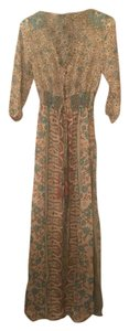 Teal and Beige Paisley Maxi Dress by Boho Chic