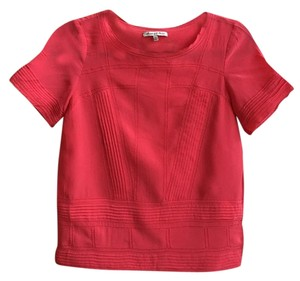 Broadway & Broome Tee Embroidered Silk Detailing Top Pink