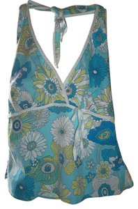 Other Halter Casual Cotton Print V-neck Top