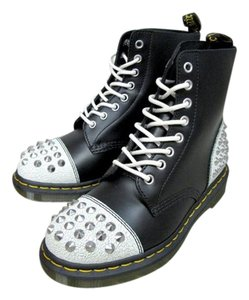 Dr. Martens Studded Leather Vintage Black and White Boots