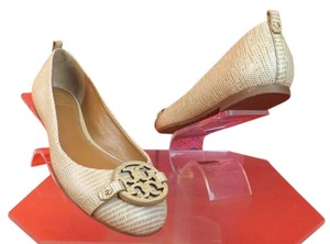 Tory Burch Trench Leather Revva Tan Flats