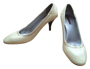Prada Patent Leather Stretch Cream Pumps