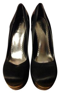 bebe Black Satin and Patent Leather Platforms