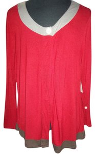 Monroe & Main One Buttone Longsleeve 2x Lightweight Top Deep Red/Brown, Grey