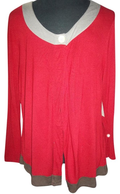 Item - Deep Red/Brown Grey Blouse Size 24 (Plus 2x)