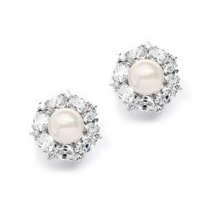 Mariell Silver Imitation Pearl and Crystal Medallion Earrings