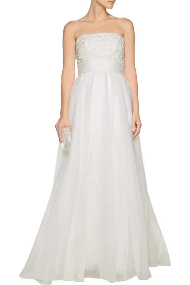 Theia White Silk; Lining: Acetate Embellished Silk-organza Gown ...