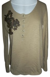 Nine West Pullover Light Brown Embroidered Longsleeve Large T Shirt Beige