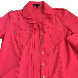 Spense Button Down Shirt Coral with gold hardware