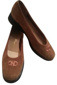 Salvatore Ferragamo Embroidered Horsebit Brown Flats