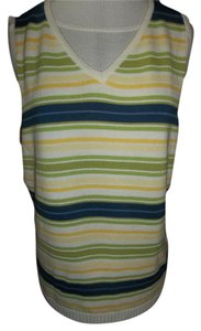 Liz Claiborne V-neck Vest Striped Cotton Casual Sweater