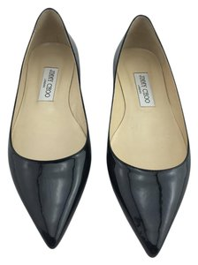 Jimmy Choo Alina Pointy Toe Pointed Toe Patent Black Flats