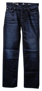 7 For All Mankind Mens Denim Standard Straight Leg Jeans-Dark Rinse