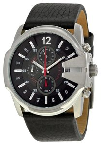 Diesel Diesel DZ4182 Master Chief Men's Black Leather Strap Watch New In Box