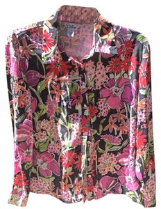 Lilly Pulitzer Button Down Shirt Pink & Black