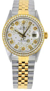 Rolex 36mm DateJust Two Tone White Flower Diamond Dial Bezel 1.25 Carat