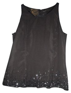 Angelica Fashion Vintage Beaded Sleeveless Top Black