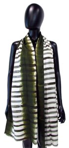 Chico's Versatile Long Striped Textured Silk Scarf