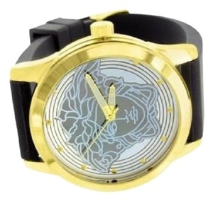 Gold Tone Medusa Watch Designer Black Silicone Band Round Face