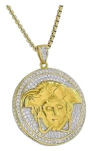 Other Medusa Face Pendant Greek Stainless Steel Necklace Simulated Diamond