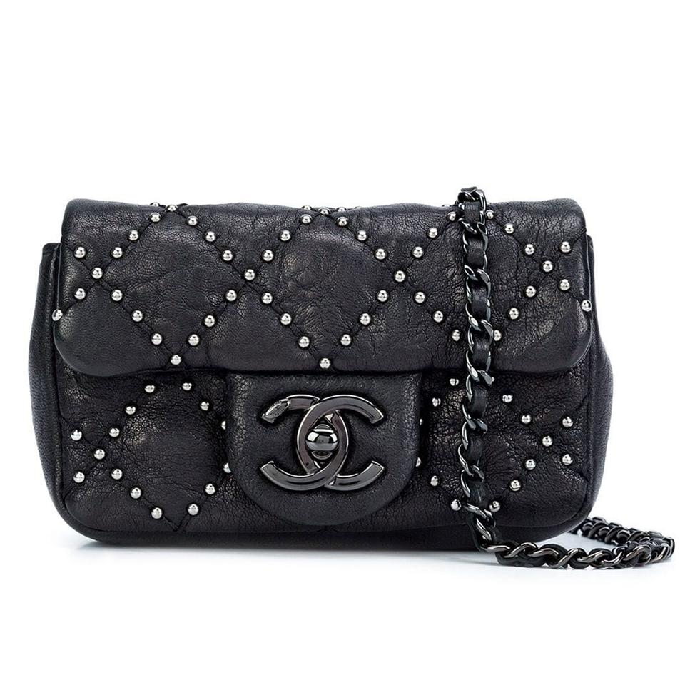 80a3fba1ca00 Chanel Classic Flap So Studded Mini Dallas Black Leather Cross Body ...