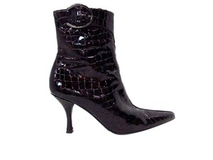 Stuart Weitzman Pointed Toe Reptile Bootie Brown Boots