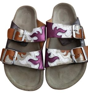 Isabel Marant Toile Leather Metallic Silver / Purple Sandals