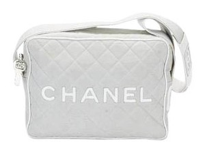 Chanel Vintage Canvas Messenger Satchel in Grey