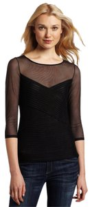 BCBGMAXAZRIA Sheer Mesh Date Night Party Top Black