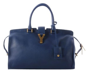 Saint Laurent Ys.k0523.99 Ysl Blue Leather Satchel
