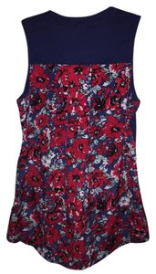 Anthropologie Porridge Top Navy/red floral
