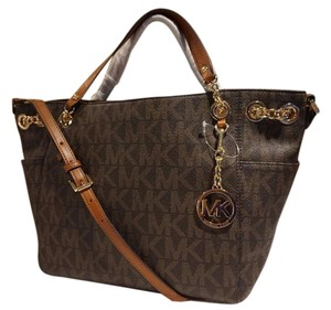 Michael Kors Jet Set Gathered Chain Gold Hardware Tote in Signature Brown