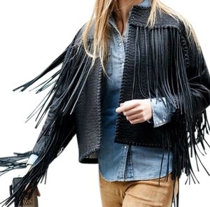 By Malene Birger Fringe Hem Faux Leather Leather Fringe Rock Chic Motorcycle Jacket