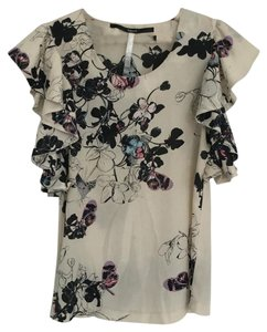 Kensie Top Floral, cream, blues, pinks, blacks
