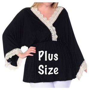 Other Kimono Sleeve V-neck Curvy Lace Plus Size Tunic