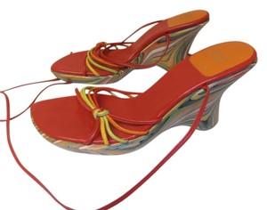 Stuart Weitzman Strappy Colorful Wedge red multi-color Sandals