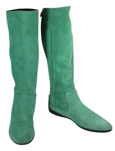 Gucci Green Leather Tall Flat Zip Boots