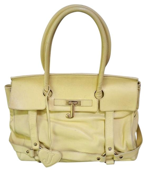 Item - Front Buckle Pastel Yellow Leather Tote