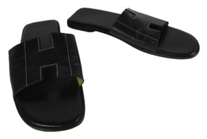 Herms Black Leather Logo Flat Oram Sandals